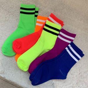 Bright Neon Sport Stripe Crew Socks Any 4 for $32